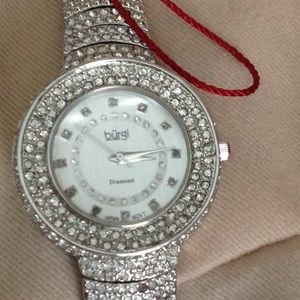 Jewelry - Burgi diamond face watch New with tags